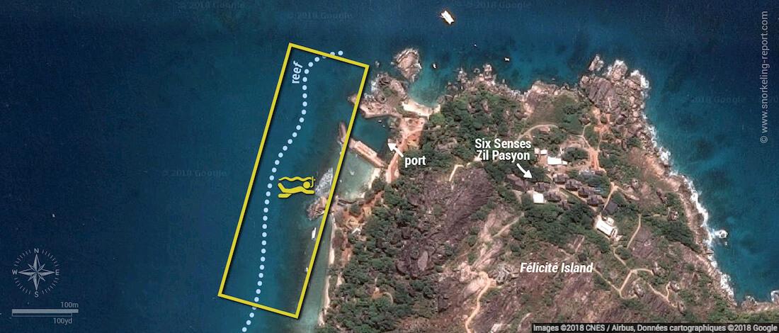 Félicité Island snorkeling map, Seychelles