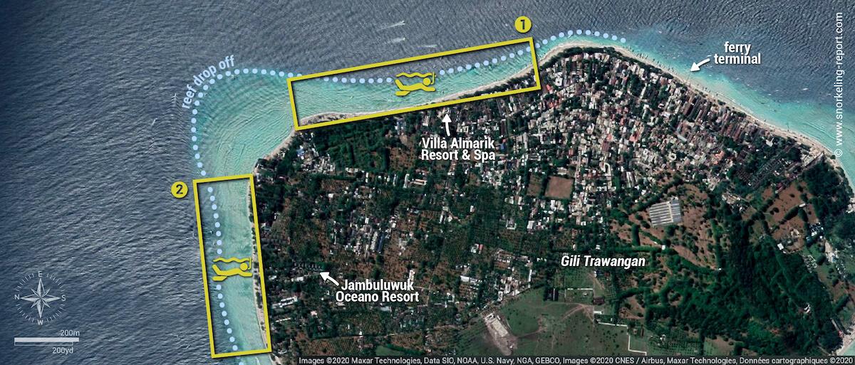 Gili Trawangan snorkeling areas map