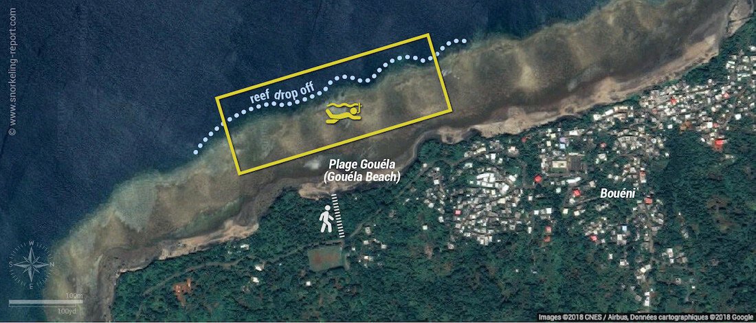 Gouela Beach snorkeling map, Mayotte