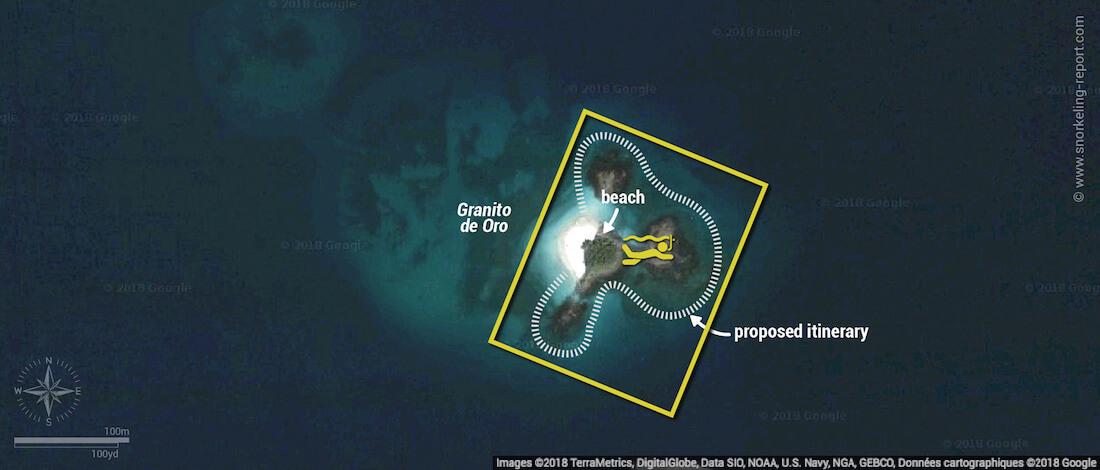 Granito de Oro snorkeling map, Coiba National Park