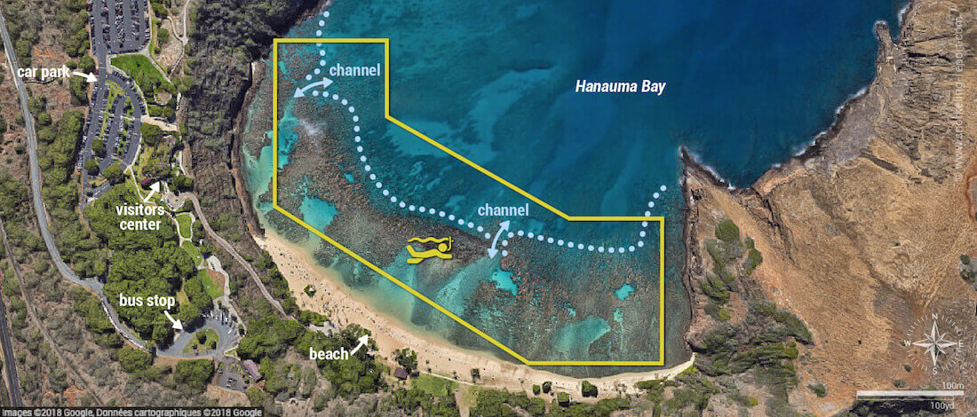 Hanauma Bay Oahu snorkeling map