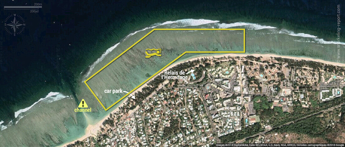 Lagon de l'Hermitage Reunion Island snorkeling map