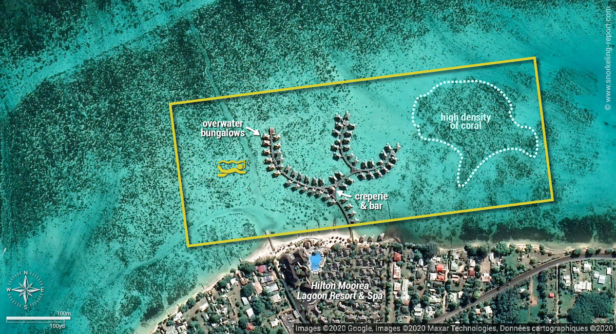 Hilton Moorea Lagoon snorkeling map