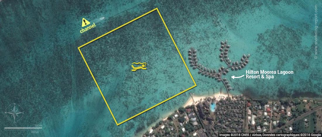 Hilton Moorea Lagoon snorkeling map, Moorea