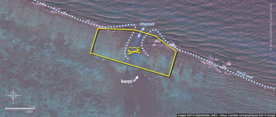 Hol Chan Cut snorkeling map, Belize