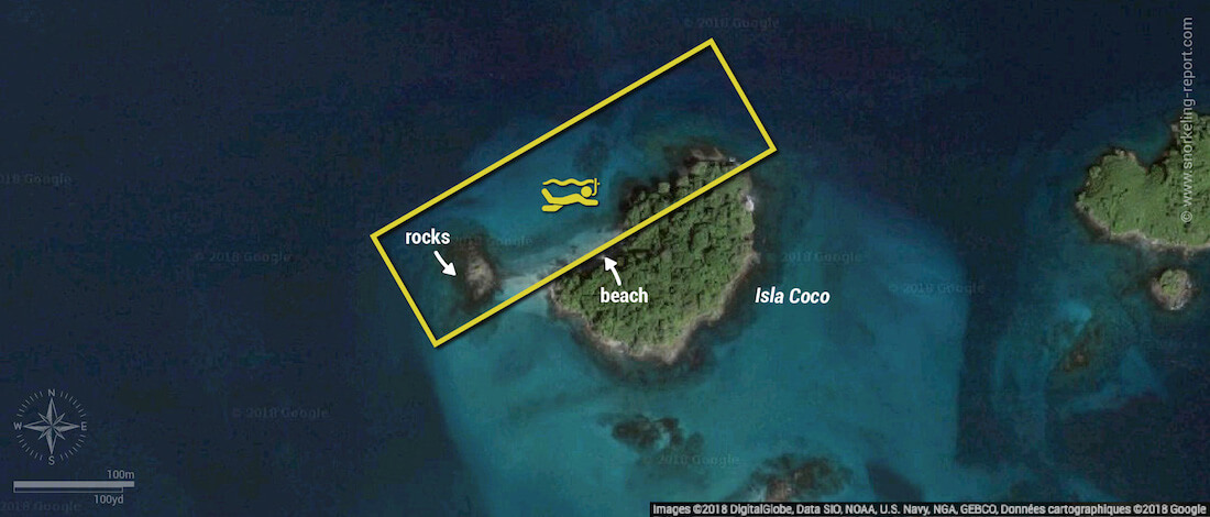 Isla Coco snorkeling map, Coiba National Park