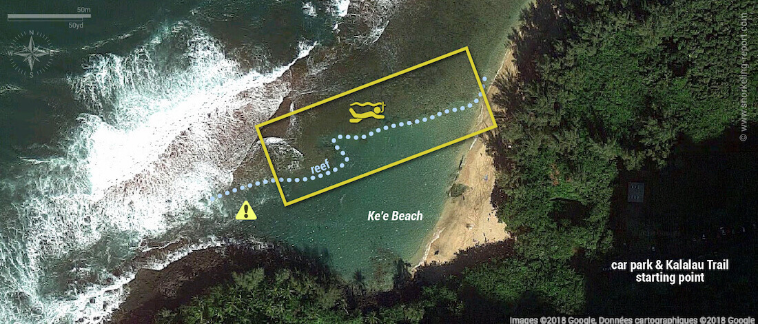 Ke'e Beach Kauai snorkeling map