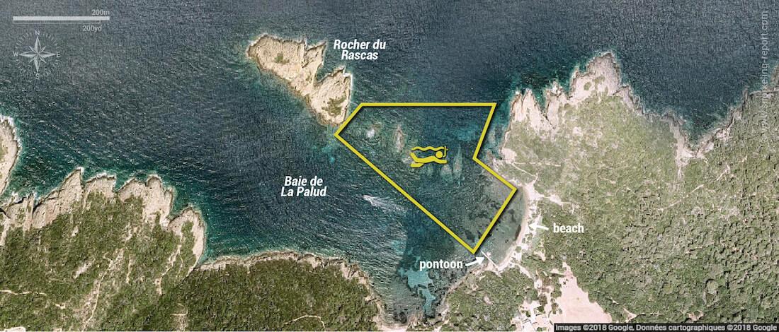 Plage de la Palud snorkeling map, Port Cros National Park