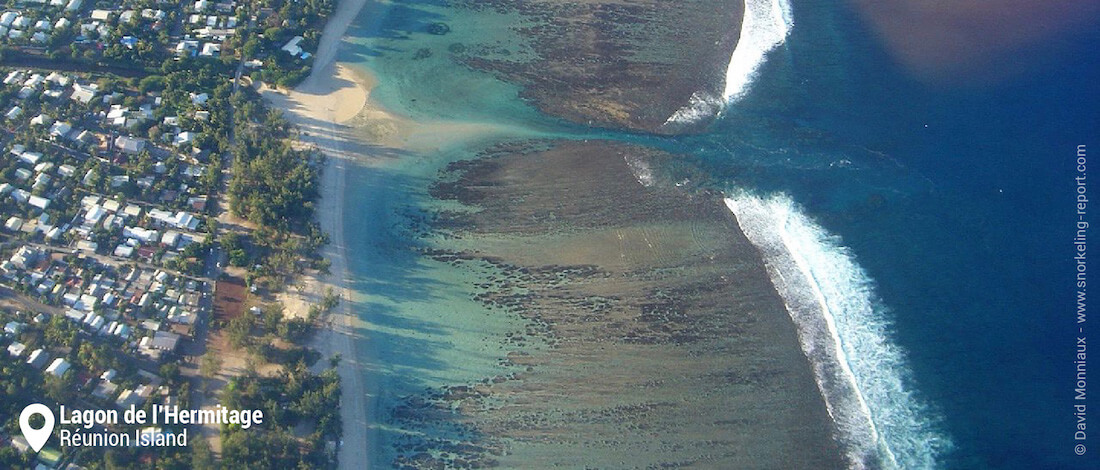 Aerial view of Lagon de l'Hermitage, Réunion Island