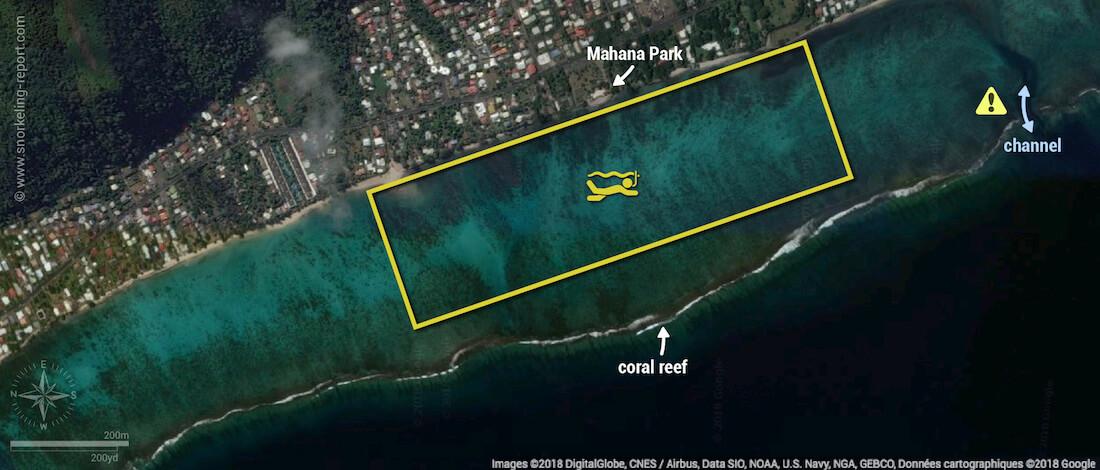 Mahana Park snorkeling map, Tahiti
