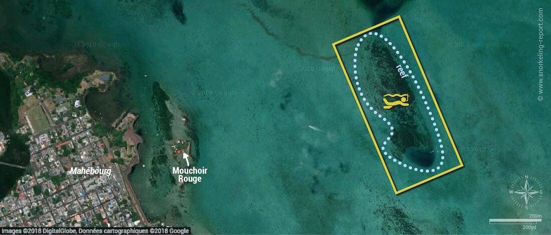Mahebourg Bay snorkeling map, Mauritius