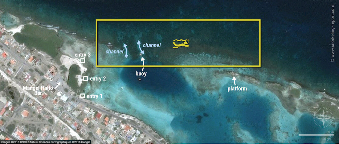 Mangel Halto snorkeling map, Aruba