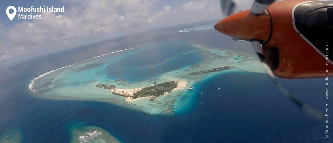 Aerial view of Moofushi Island, Maldives