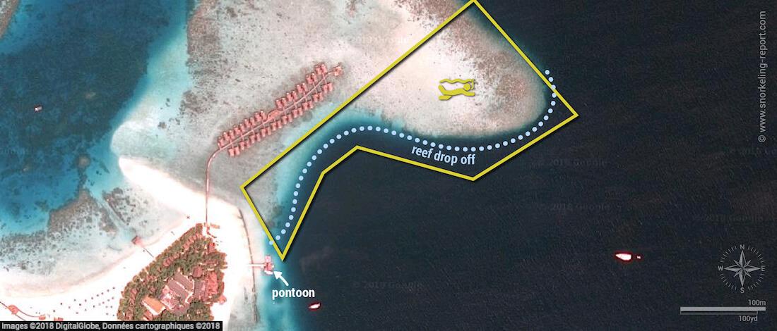 Moofushi Island snorkeling map, Maldives