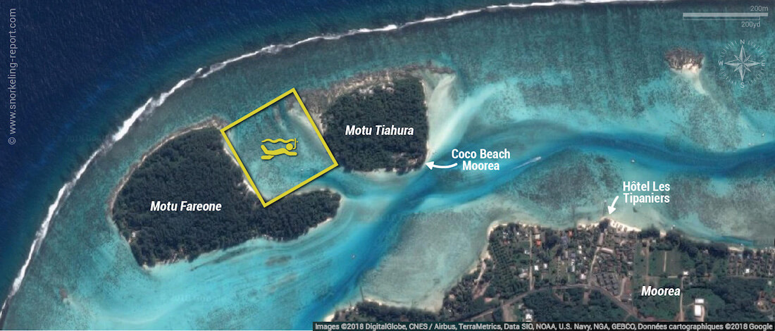 Motu Fareone snorkeling map, Moorea