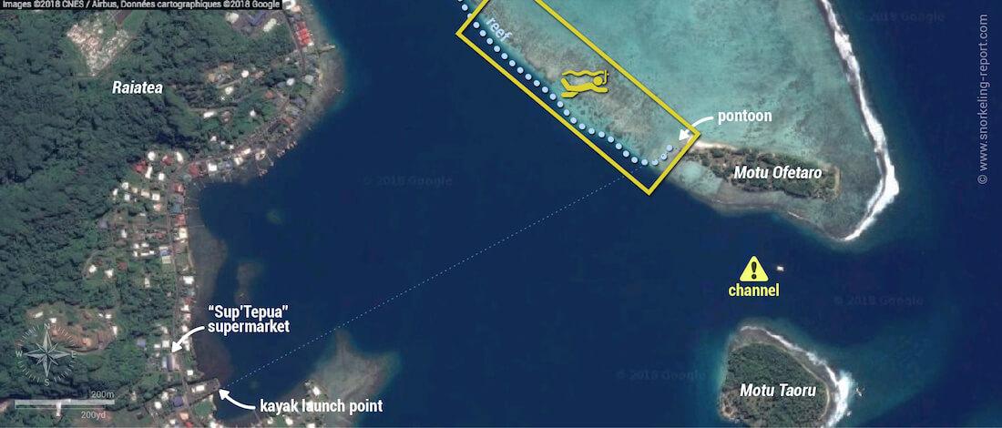 Motu Ofetaro snorkeling map, Raiatea