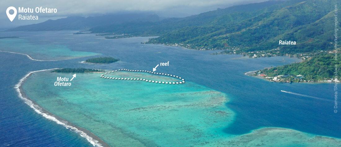 Aerial view of Motu Ofetaro - Snorkeling in Raiatea