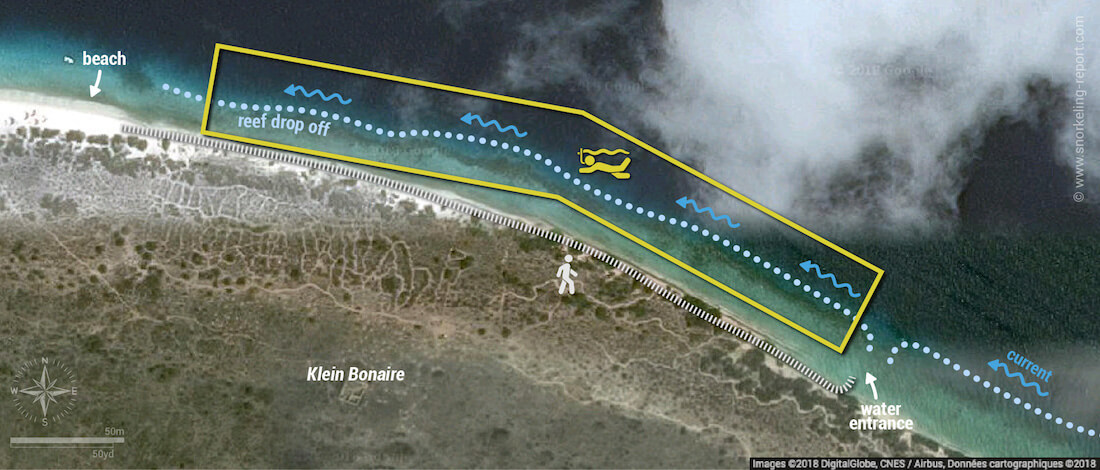 No Name Beach snorkeling map, Bonaire