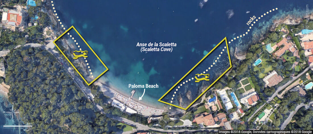 Paloma Beach snorkeling map, Saint-Jean-Cap-Ferrat, France