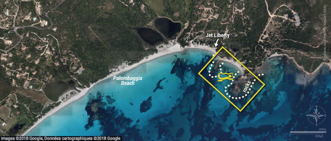 Palombaggia snorkeling map, Corsica