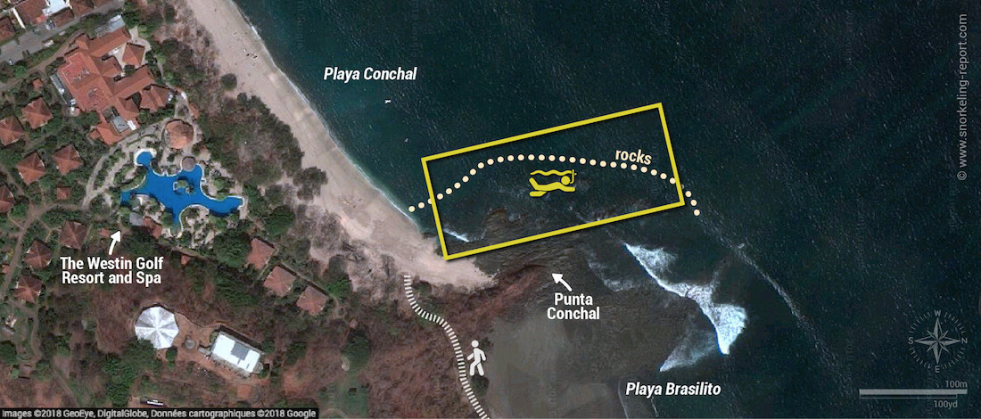 Playa Conchal snorkeling map, Guanacaste, Costa Rica