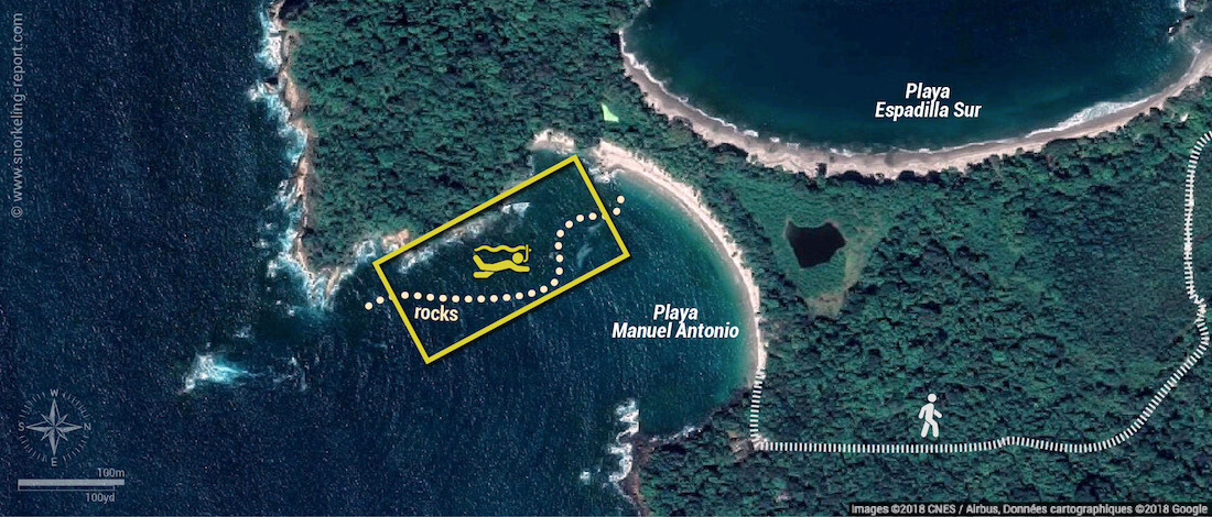 Playa Manuel Antonio snorkeling map, Costa Rica