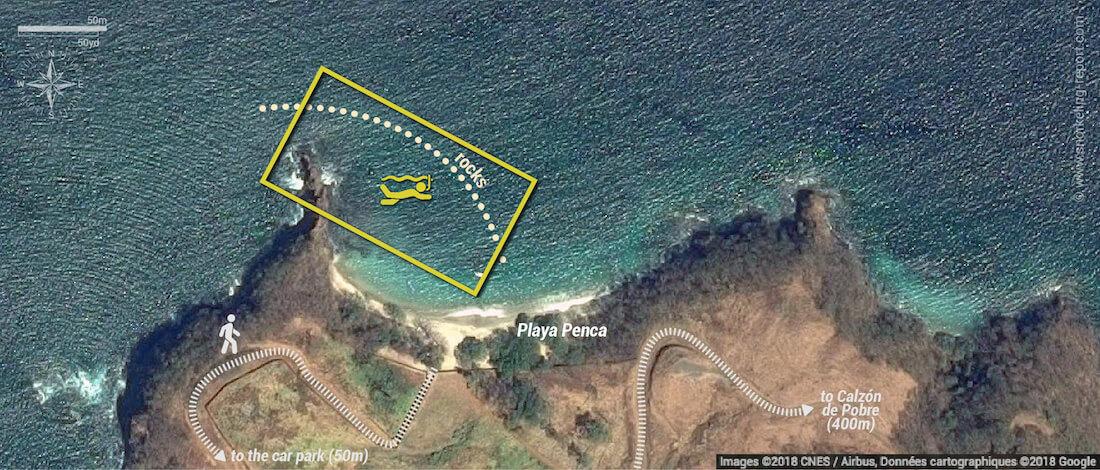 Playa Penca snorkeling map, Guanacaste, Costa Rica