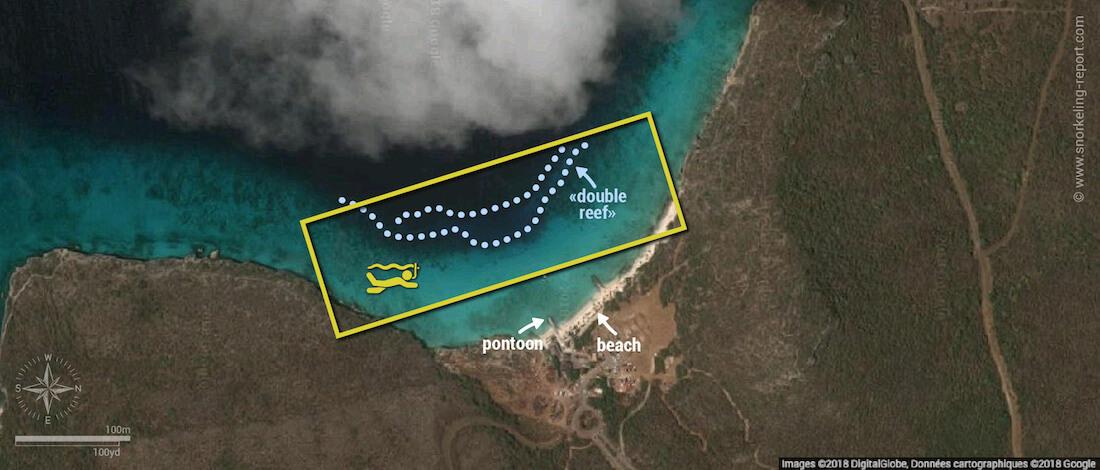 Playa Porto Mari snorkeling map, Curacao