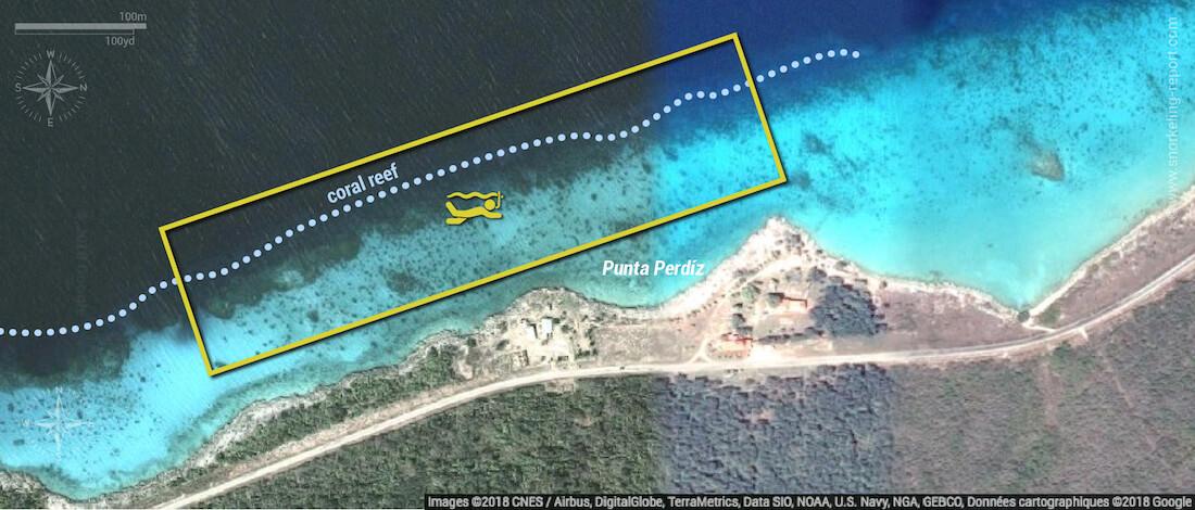 Punta Perdiz snorkeling map, Cuba