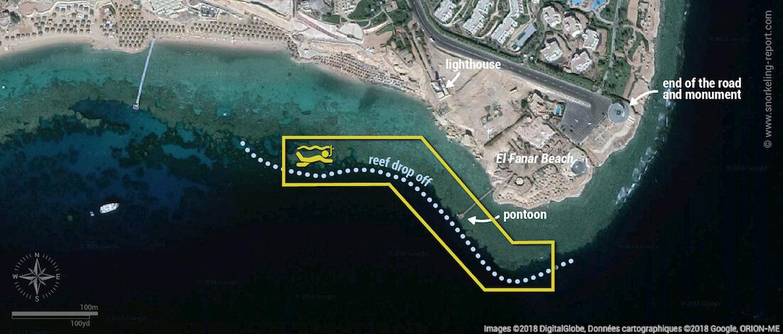 Ras Um Sid snorkeling map, Sharm El-Sheikh, Egypt