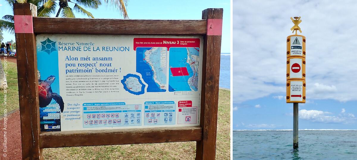 Panneaux et balises de la réserve marine de La Réunion