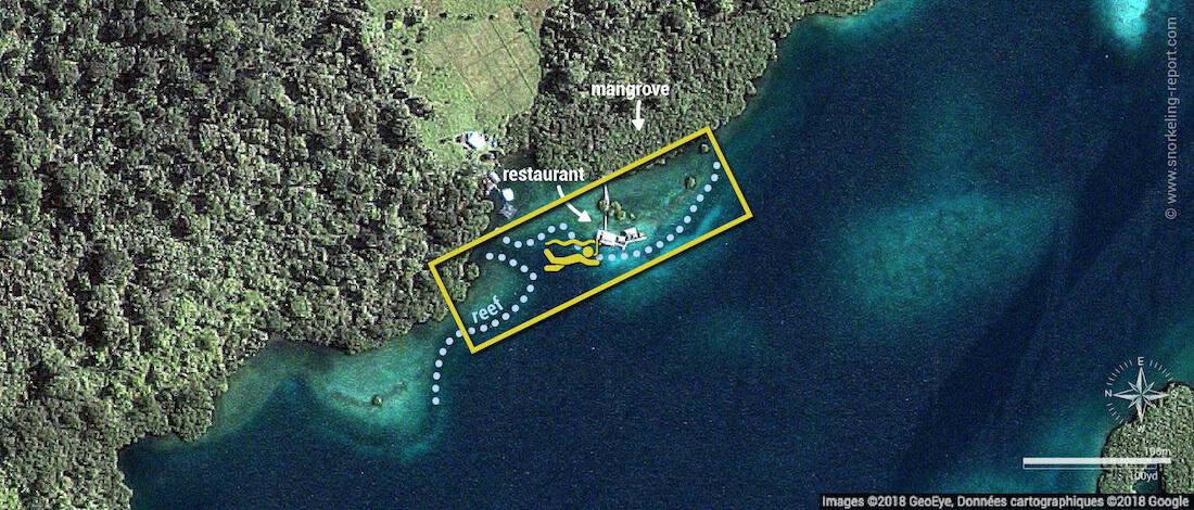 Restaurante Alfonso snorkeling map, Bocas del Toro
