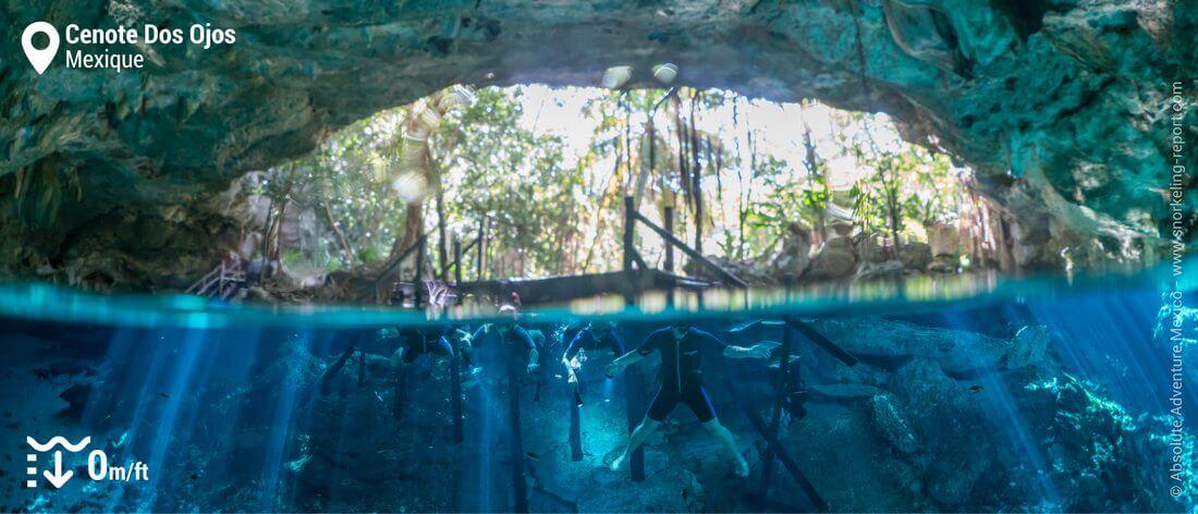 Entrée du Cenote Dos Ojos, Mexique