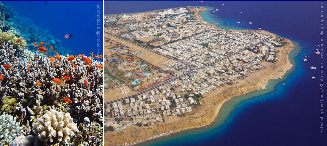 Reef drop off and aerial view of Sharm El-Sheikh, Red Sea