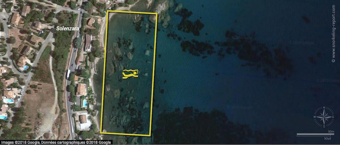 Solenzara snorkeling map, Corsica