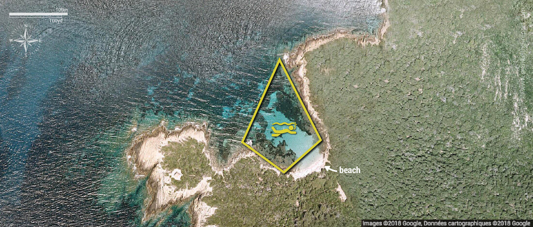 Plage du Sud snorkeling map, Port Cros National Park
