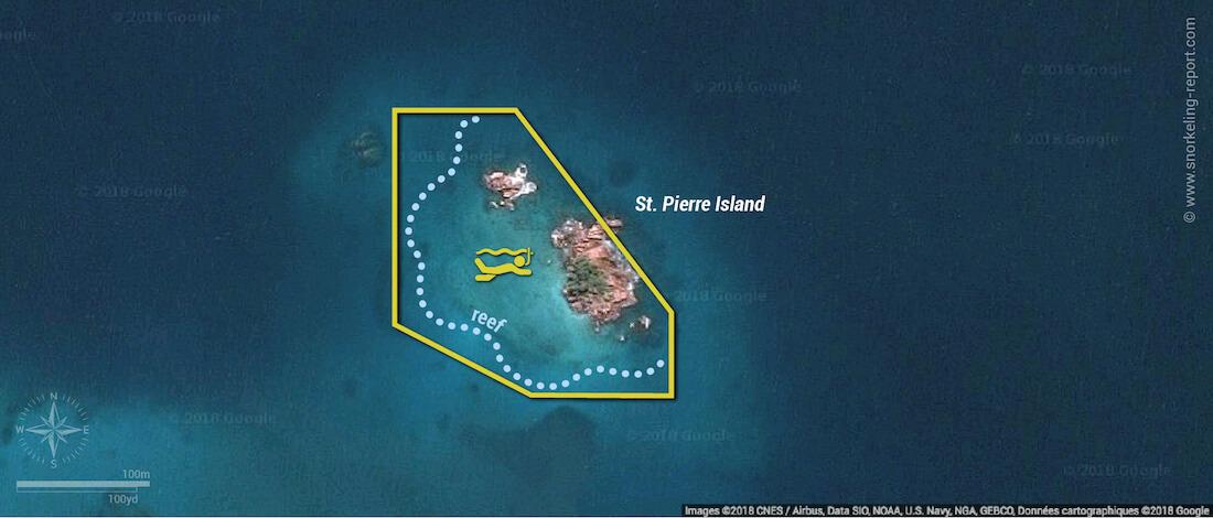 St Pierre Island snorkeling map, Praslin, Seychelles