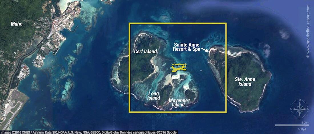 Ste Anne Marine Park snorkeling map, Mahe, Seychelles