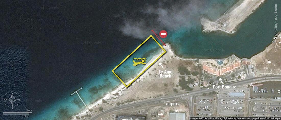 Te Amo Beach snorkeling map, Bonaire