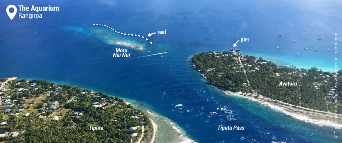 Aerial view of the Aquarium - Snorkeling in Rangiroa