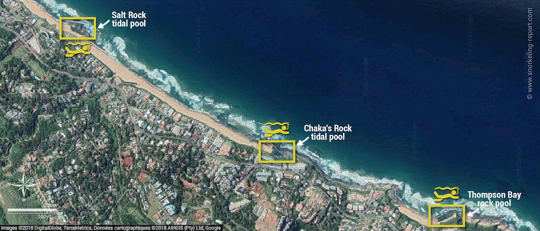 Dolphin Coast tidal pools snorkeling map, South Africa