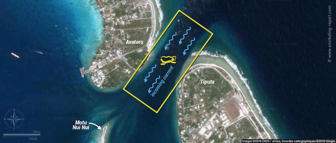 The Tiputa Pass snorkeling map, Rangiroa