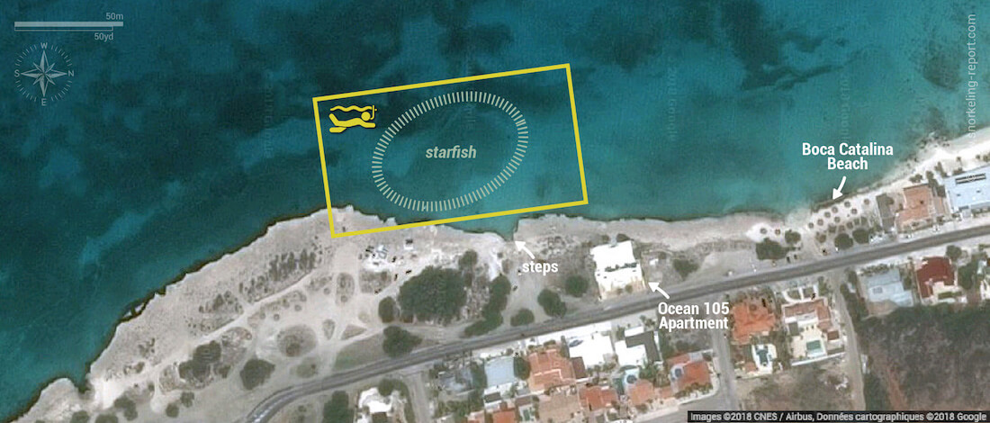 Tres Trapi snorkeling map, Aruba