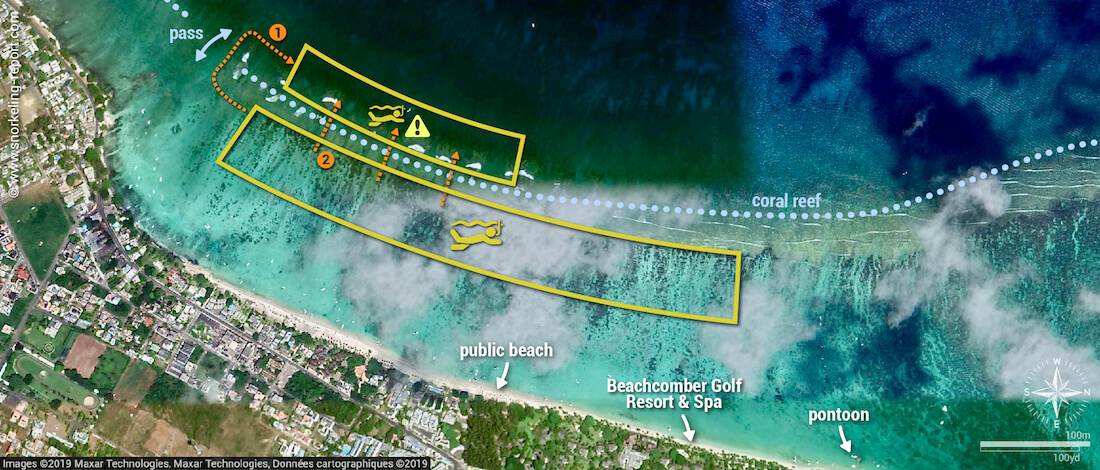 Trou aux Biches snorkeling map