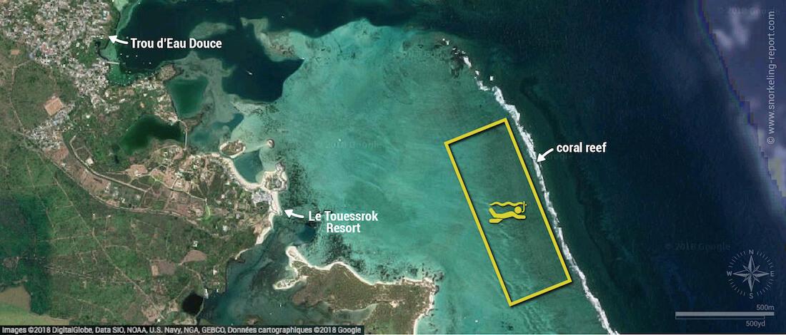 Trou d'Eau Douce snorkeling map, Mauritius