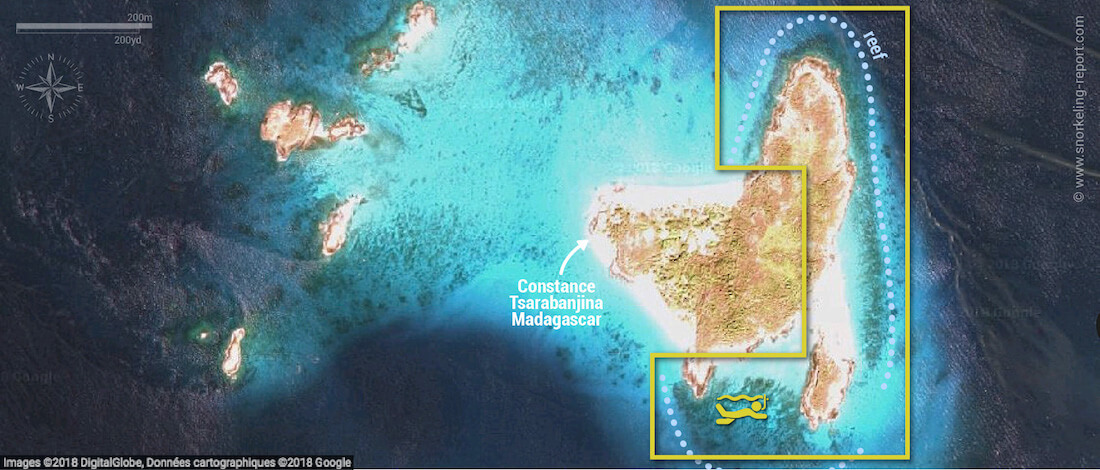 Tsarabanjina snorkeling map, Madagascar