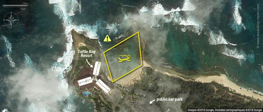 Turtle Bay Resort Oahu snorkeling map