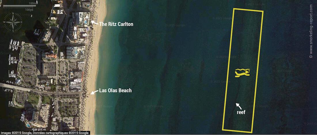 Twin Ledges snorkeling map, Fort Lauderdale