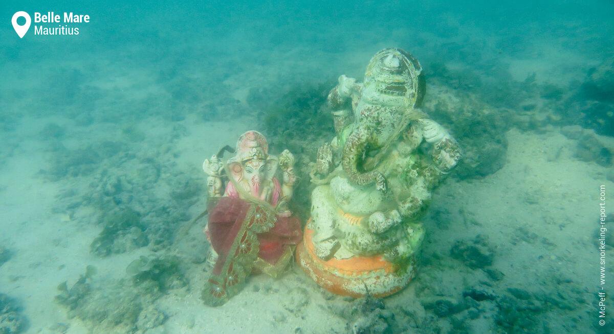 Underwater statues in Belle Mare.