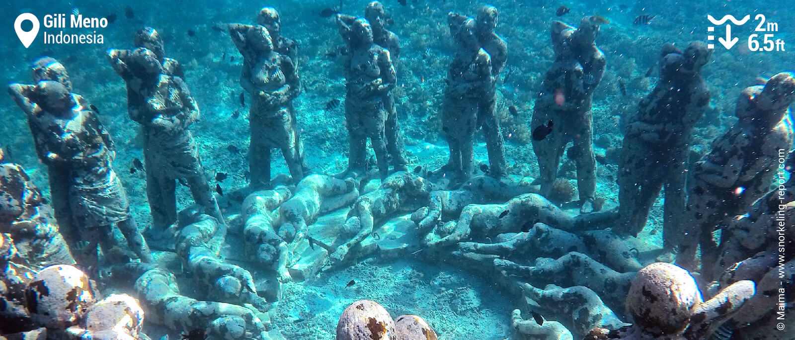 """Nest"" underwater statues, sitting only 4m deep, is a perfect underwater photo setting."
